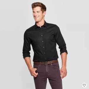 Men's Slim Fit Non-Iron Dress Long Sleeve Button-D